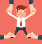 Illustration of businessman being stretched apart by giant hands